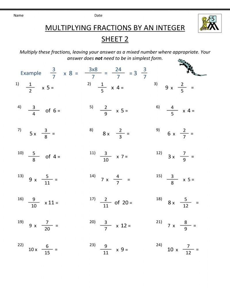 Halloween Math Worksheets 5th Grade 5th Grade Printable Worksheets Math    Fractions worksheets [ 1000 x 800 Pixel ]