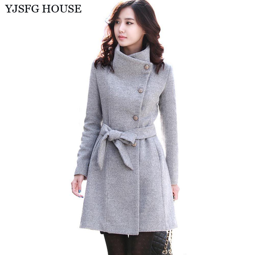ad97fc76937b YJSFG HOUSE Autumn Winter Fashion Wool Coat Long Jacket Ladies 2017 Single  Breasted Slim Woolen Coat
