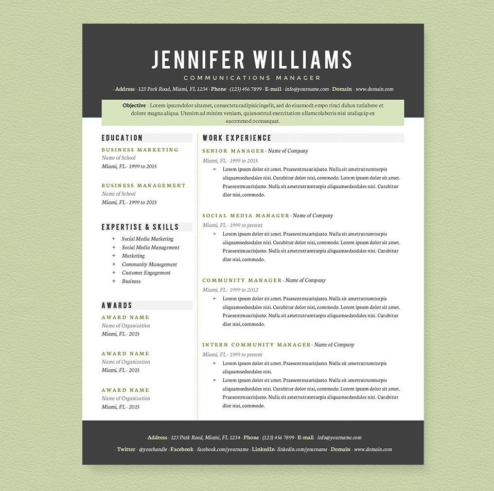 Cool Resume Templates Professional Resume Template Pkgjannalynncreative On Creative