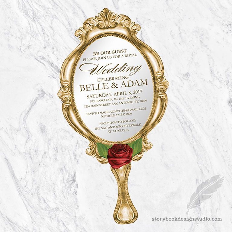 Beauty And The Beast Wedding Invitations / Die Cut Hand Mirror PRINTED