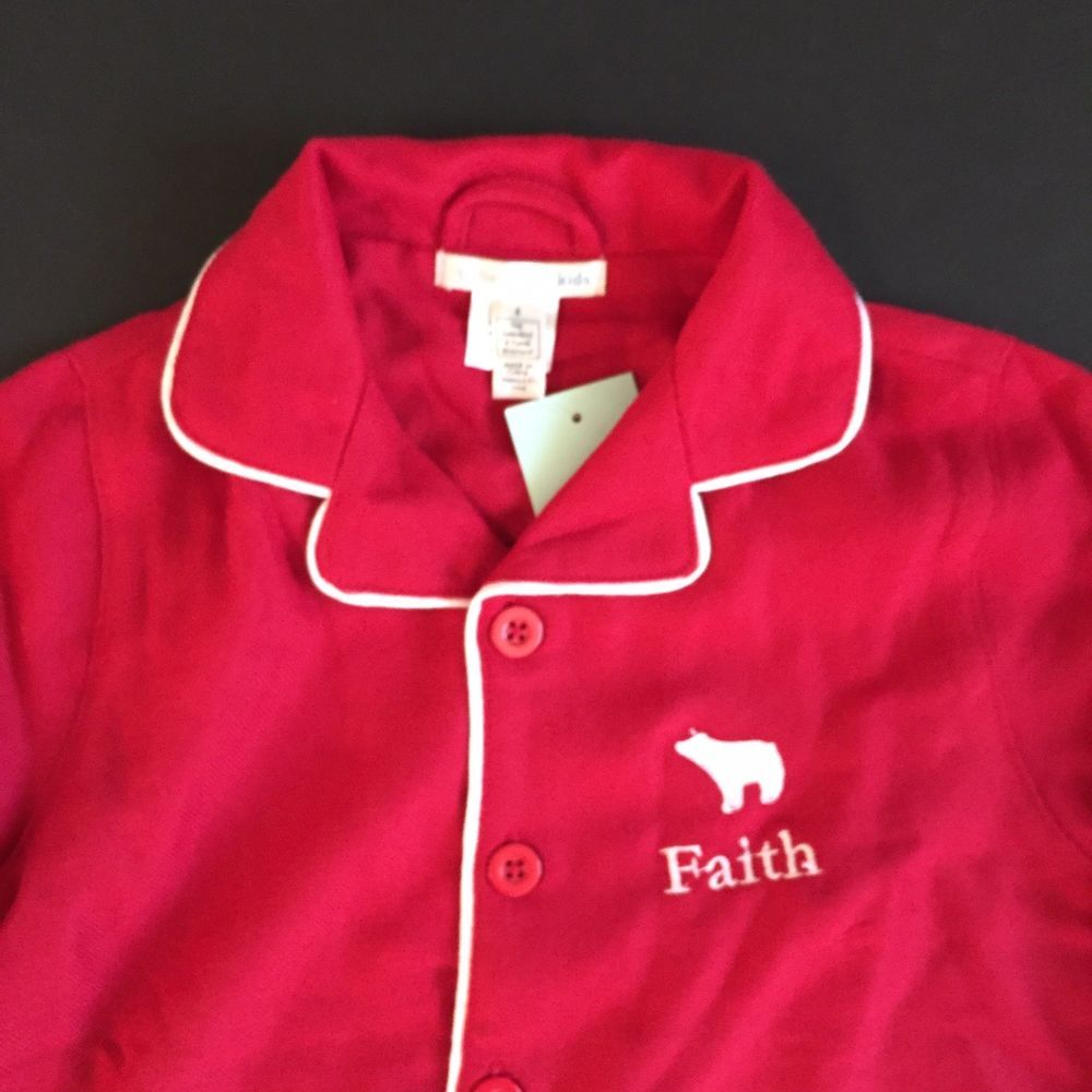 Pottery Barn Kids Red Flannel Pajamas Size 8 Faith New