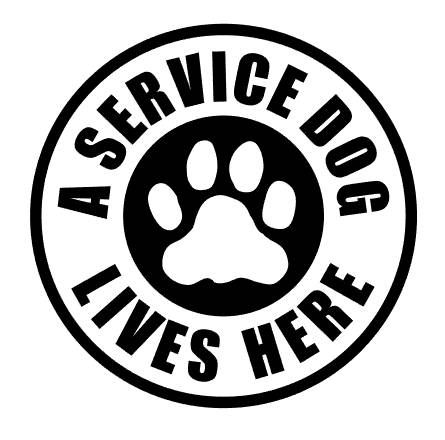 A Service Dog Lives Here Vinyl Decal