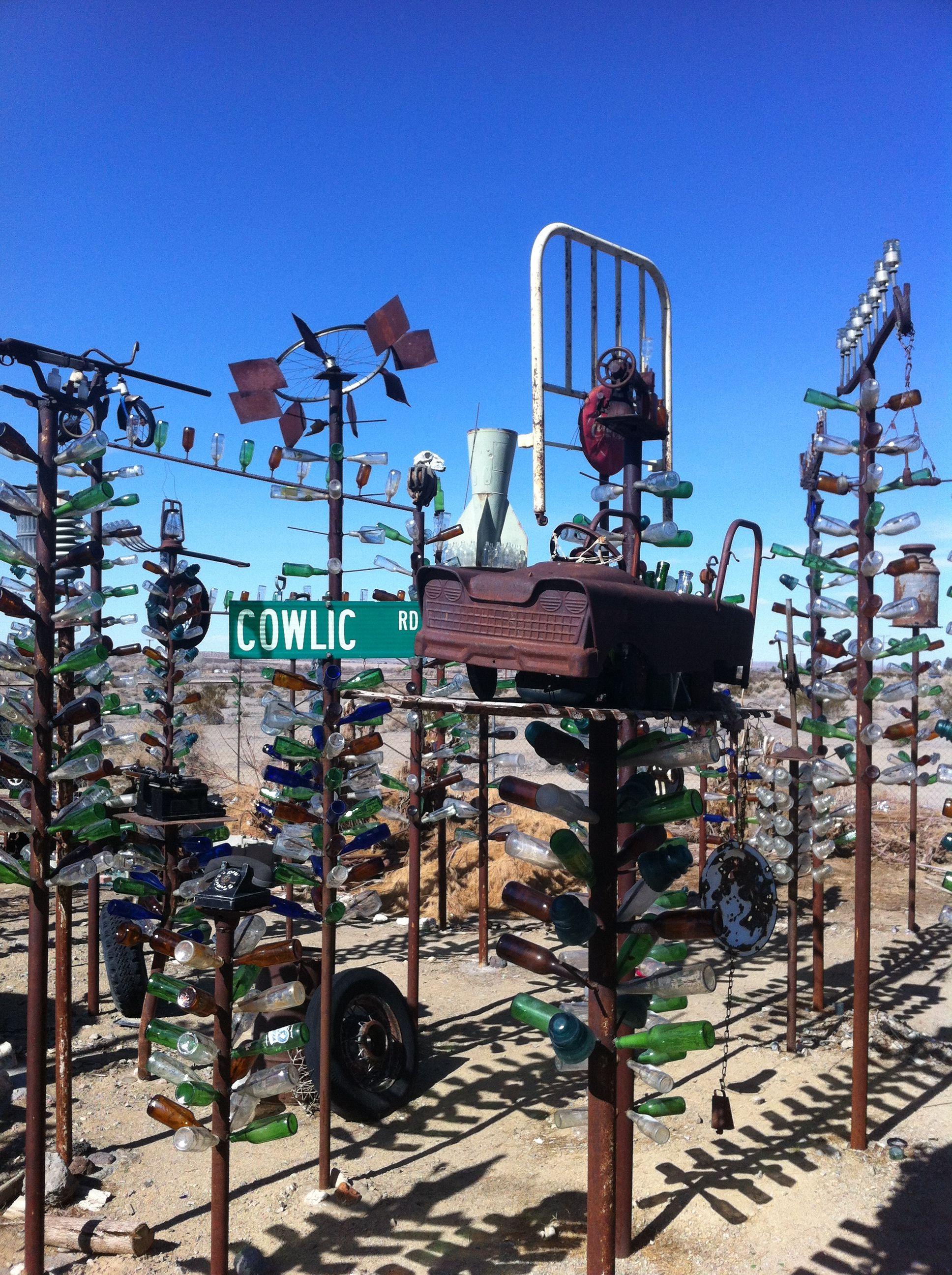Bottle tree house off of Route 66 in Victorville Ca.