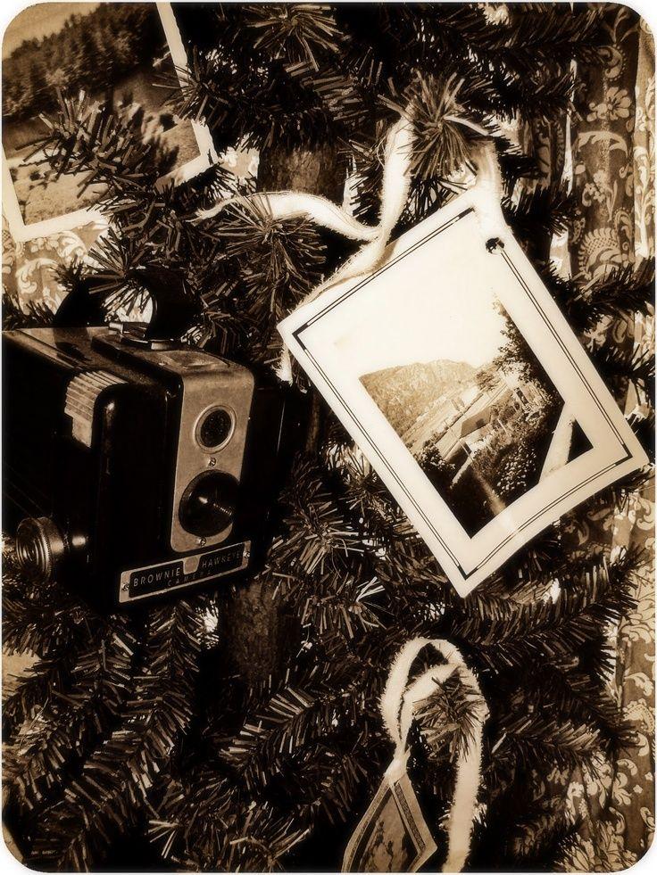 Brownie Hawkeye Camera On Christmas Tree Vintage Black And White