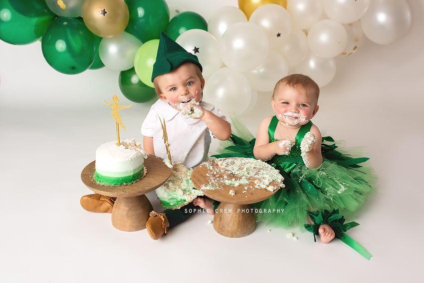 Peter Pan And Tinker Bell Cake Smash Smash Cake First Birthday Twin Birthday Parties Cake Smash