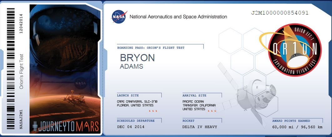 Sending my Name to Mars! ) mars space Orion, Mission