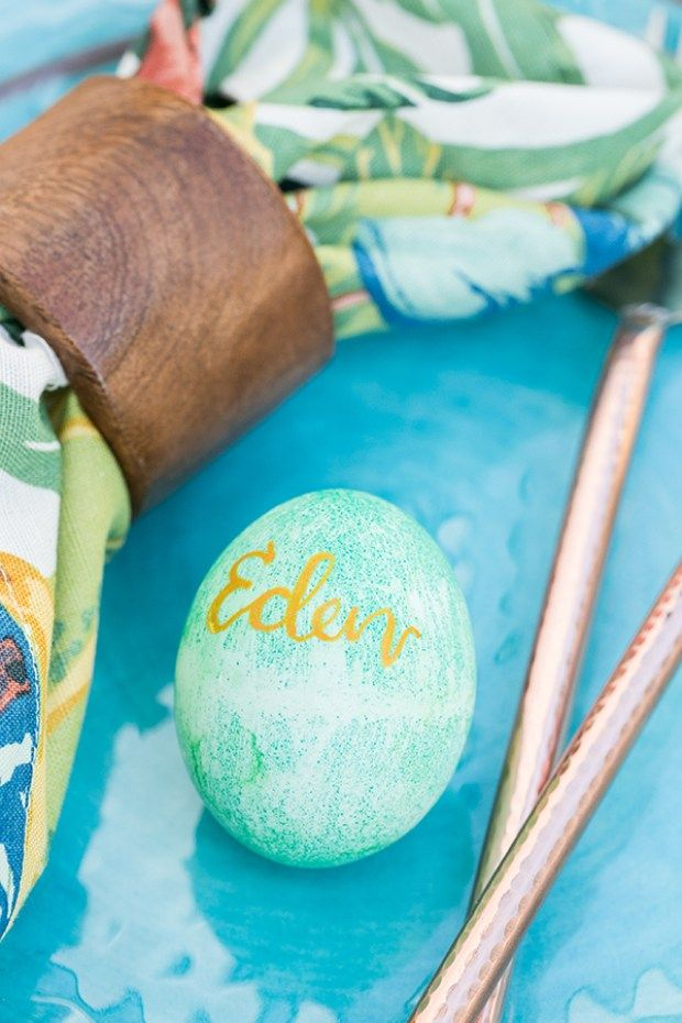 Calligraphy Easter Eggs you can create yourself and use as place cards.