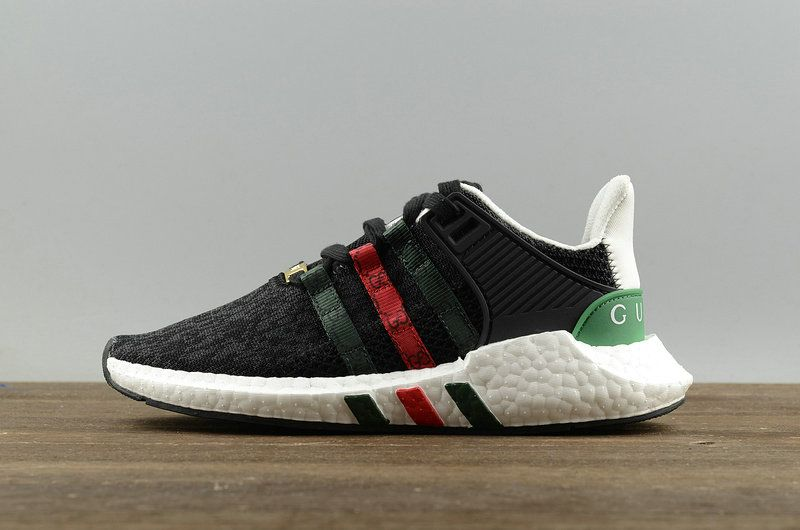 6d40f19ea Officiel Unisex Adidas EQT Support ADV 91-17 Primeknit X Black Noir White  blanc-Green-Red Youth Big Boys Sneakers