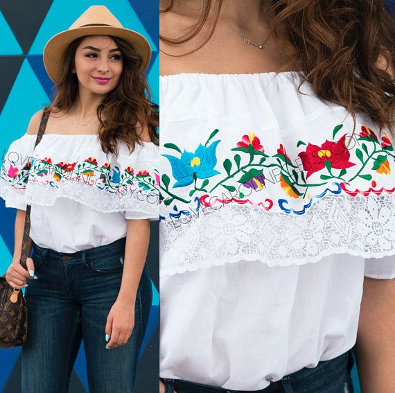 073671d9d4b Embroidered Mexican Blouse (Traditional Oaxaca Off Shoulder Boho Festival  Bohemian Womens Frida Kahl