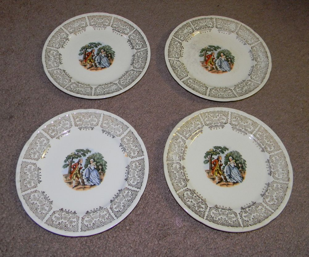 Vintage Crooksville China Co Bread Plates set of 4 Colonial Couple Courting & Platinum or Gold-Plated Sterling Silver Swarovski Zirconia Three-Row ...