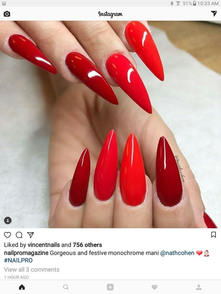 Awesome Shades Of Red Nail Art Idea Stiletto Nails Acrylic Nails Unas Nailart Red Stiletto Nails Red Nails Nail Shapes