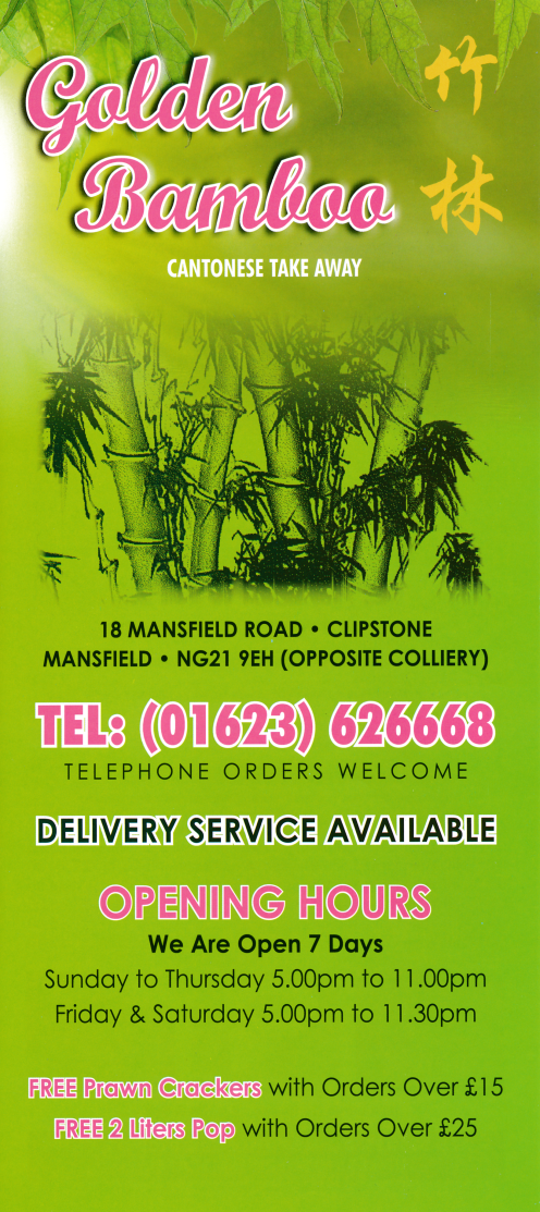 Menu for Golden Bamboo Chinese takeaway on Mansfield Road in ...