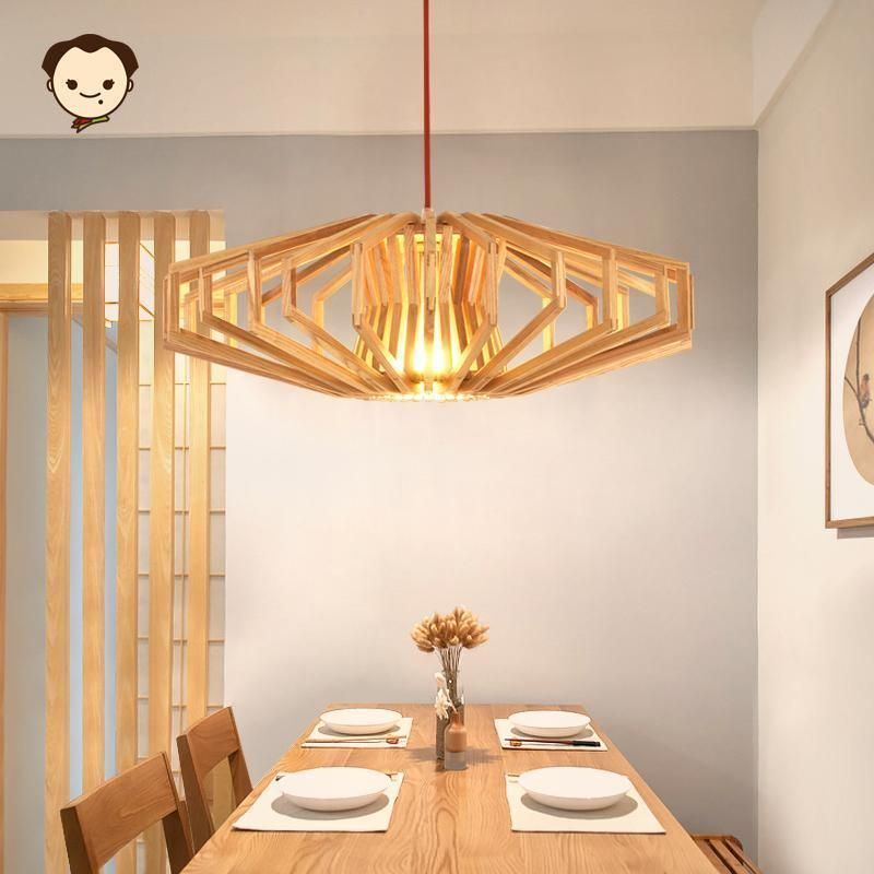 Wood Cage Shade Pendant Light Fixture Nordic Hanging Ceiling Lamp ...