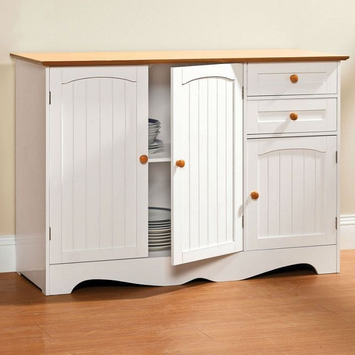 Kitchen Storage Cabinet Sideboard Buffet Counter Drawers Wood White Honey Top Hchfurniture Country