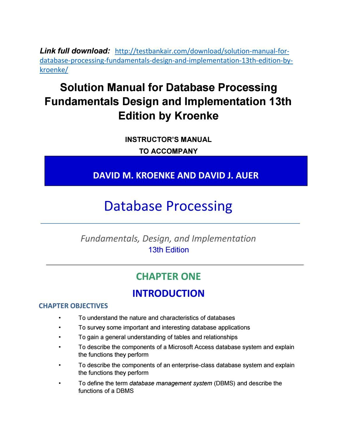 Download solution manual for database processing fundamentals design and  implementation 13th edition