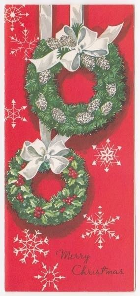 vintage greeting card christmas wreath snowflakes whitman mid century l12 ebay christmas pinterest christmas cards christmas and vintage christmas