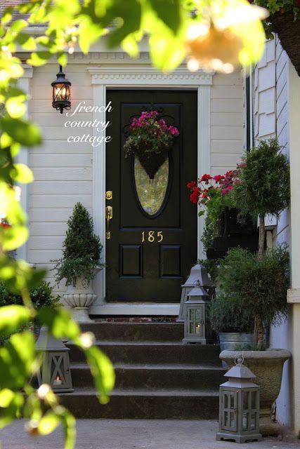FRENCH COUNTRY COTTAGE Hanging basket turned into door basket Lowes door refresh