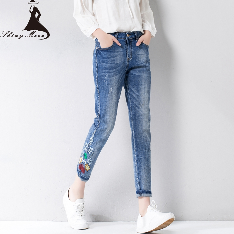 22.10$  Watch now - http://ali6xz.shopchina.info/go.php?t=32802344585 - 2017 NEW Flower Embroidery Harem Pants Jeans for Women Summer Casual Trousers Ripped Skinny Denim Jeans Calf Length Jeans female  #buymethat