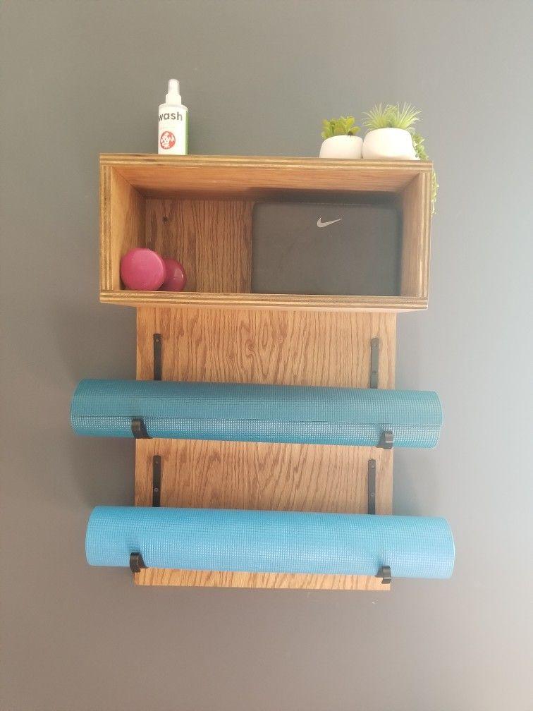 Double rack yoga mat organizer and shelf Workout room