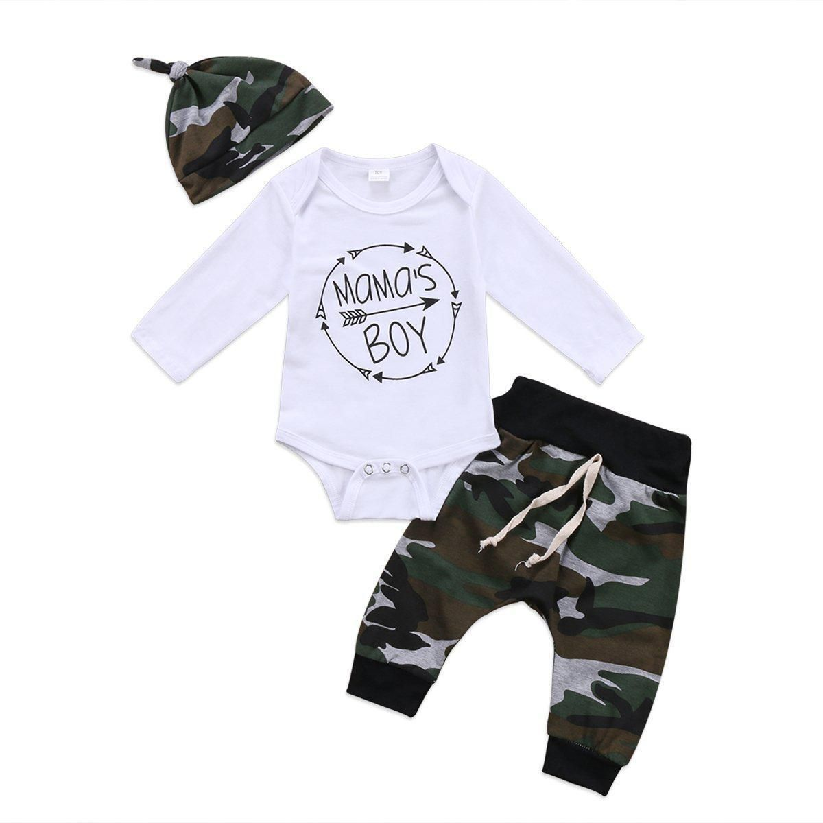 Camouflage Pants  Set UK Infant Newborn Baby Boys Outfits Clothes T Shirt Tops