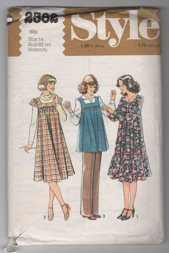 vintage 1970s UK maternity boho dress 5 pc outfit sewing pattern ...