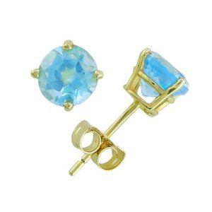 14K Yellow Gold Four Prong 7mm Round Blue Topaz Stud Earrings (Jewelry)  http://like.best-hometheaters.com/redirector.php?p=B0000AZ10D  B0000AZ10D