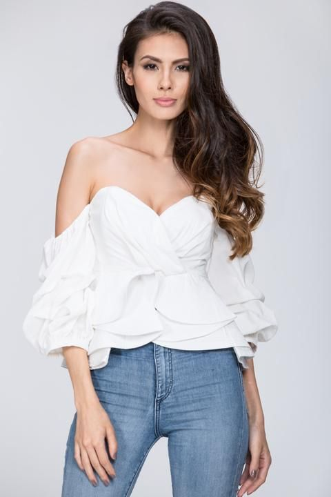 8157a174d28b46  197 White Off the Shoulder Love Me Too Top