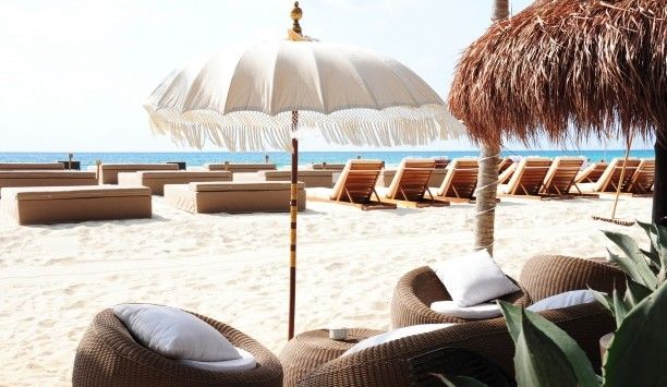 Chairs And Umbrella On Beach Royalty Free Stock Photo