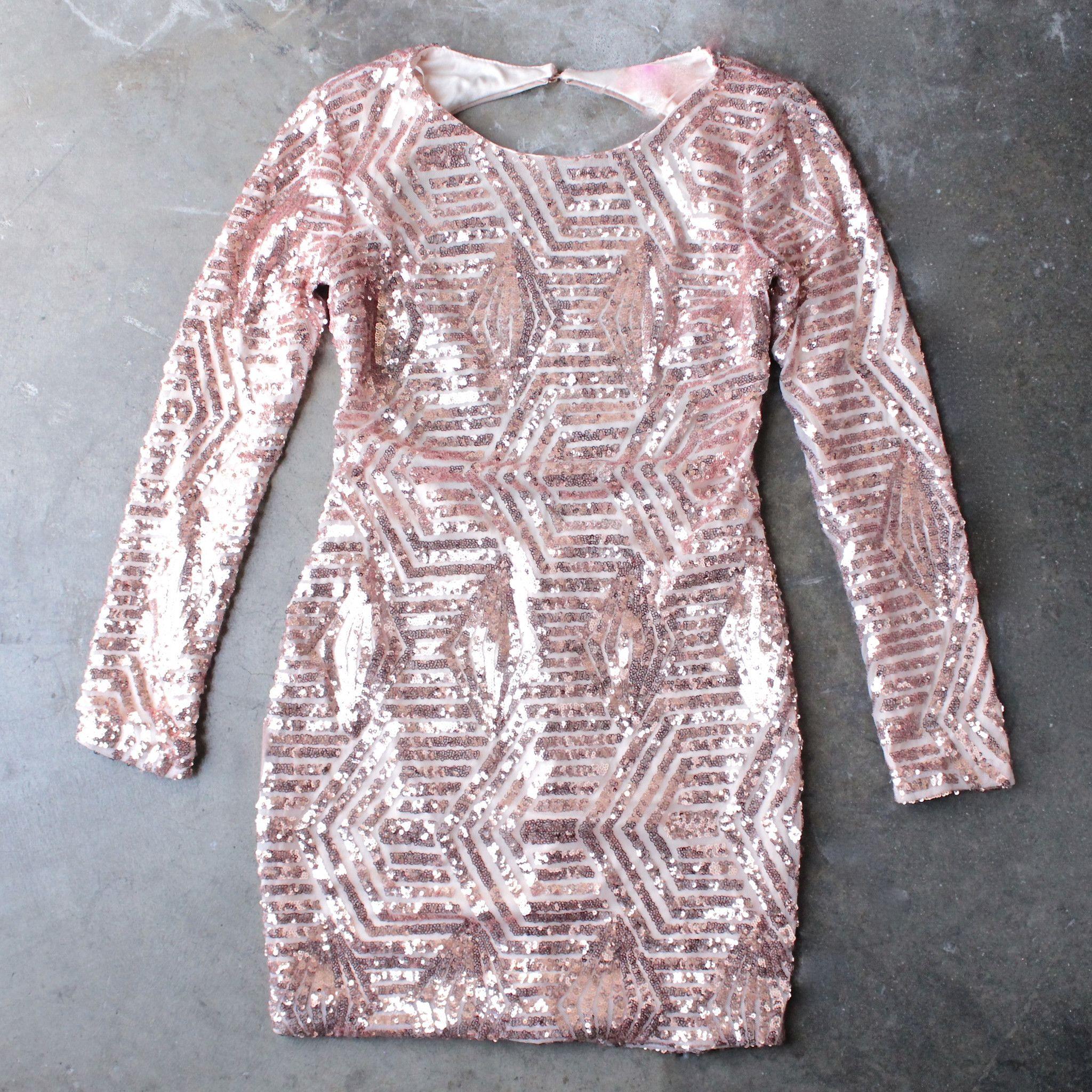 Rose gold sequin longsleeve bodycon dress bodycon dress sequins