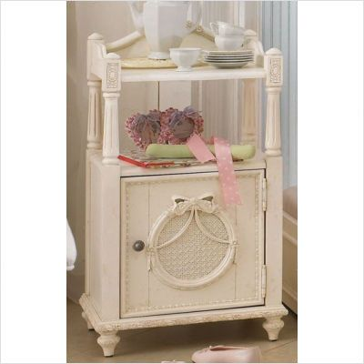 Girly Cabinet Nightstand With Vintage White Finish Cheap