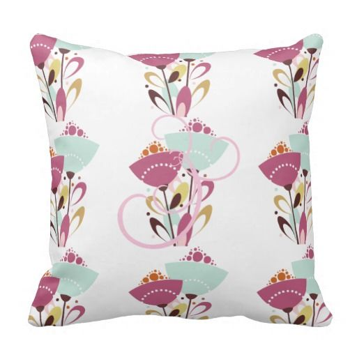 Square Pillow Pink Spring Flowers Floral