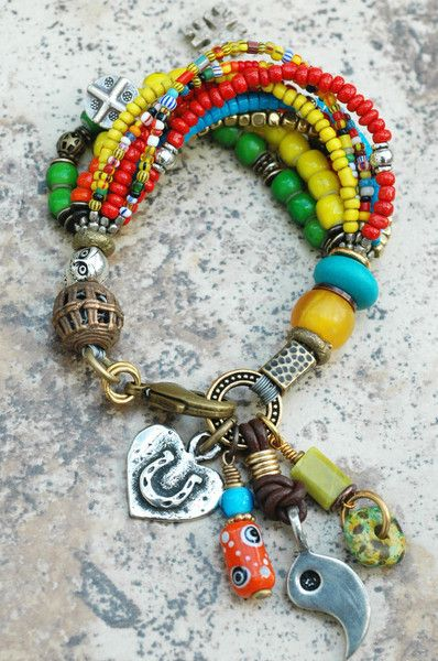 unique OOAK vintage lampwork glass boho chic beads from Africa Ghana Trade Bead Bracelet festival beaded bracelet heart in hand charm