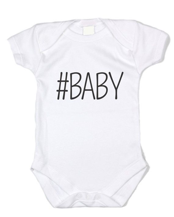 b64dc3bb HASHTAG BABY (black txt white onesie)- Infant Bodysuit, funny clothing,  onesie, baby clothing, funny bodysuit, infan
