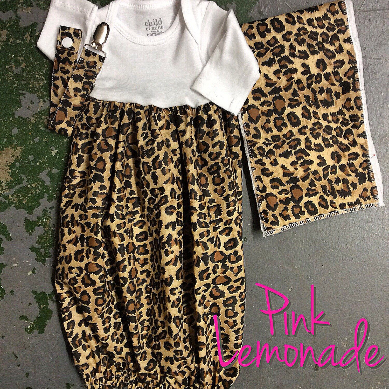 A personal favorite from my Etsy shop https://www.etsy.com/listing/222891233/layette-gown-leopard-gown-newborn