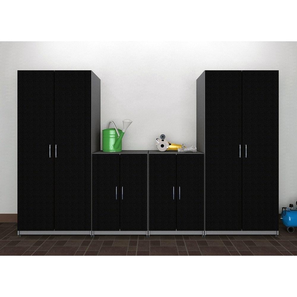 Closetmaid 112 W 4 Piece Garage Storage Cabinet Set Black Laminate Garage Storage Cabinets Tall Cabinet Storage Laundry Room Design