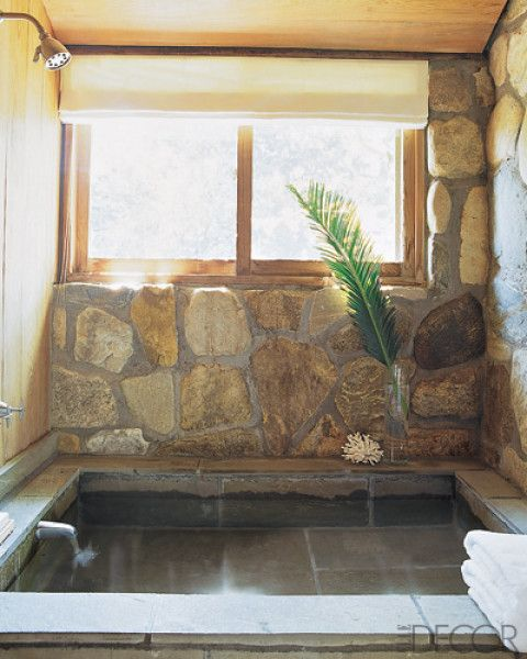 rocks are not me but I like the step down tub - especially with that ...