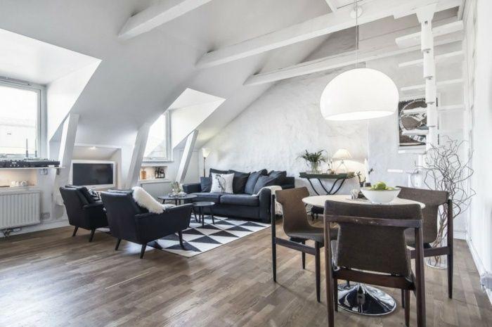 Wohnzimmer Dachschräge Skandinavischer Stil Einrichten ... Einrichtungsideen Wohnzimmer Mit Balken