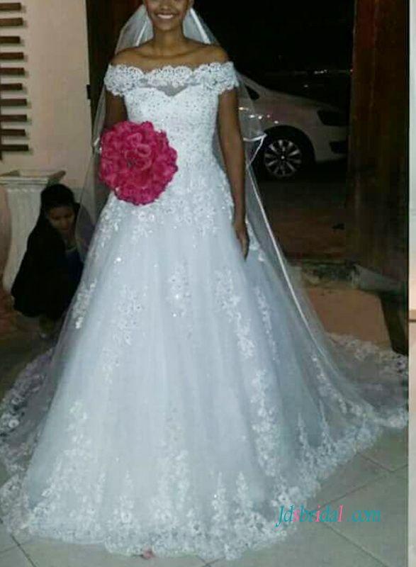 Grace off shoulder cinderela lace princess wedding dress | Pinterest ...