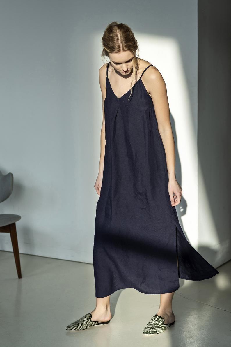 Navy Linen Slip Dress For Summer This Dark Blue Slip Dress Will Be Perfect Linen Summer Dress For This Season Th Linen Slip Dress Linen Maxi Dress Slip Dress [ 1191 x 794 Pixel ]