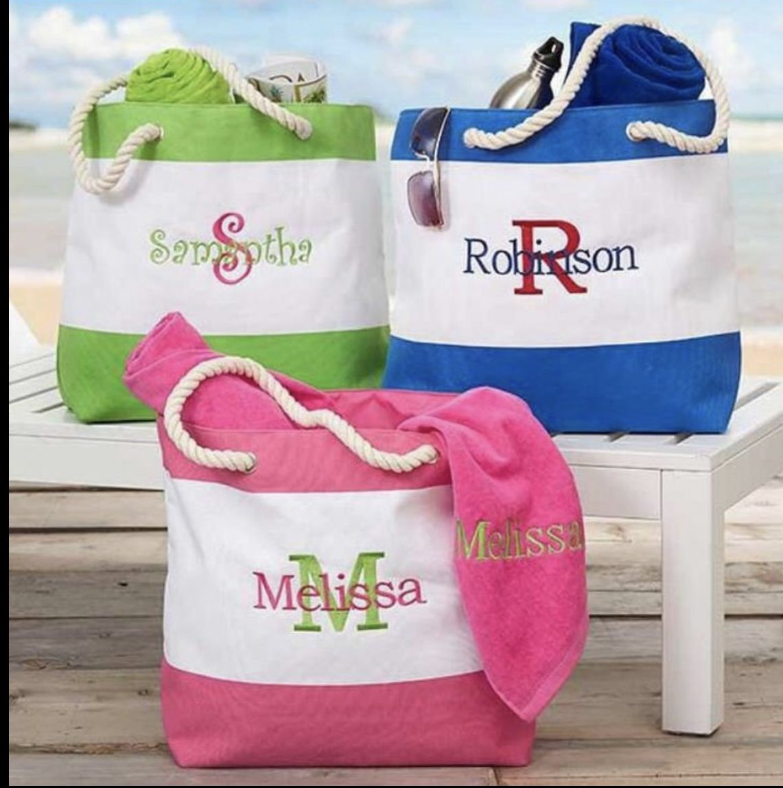 Large Monogrammed Beach Bag in Tropical Print Personalized Embroidered Pool and Boat Bags Best Cute Beach Totes for Bridesmaids Gifts