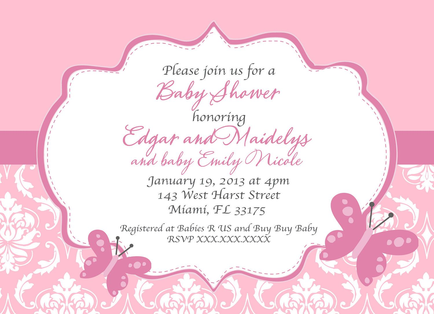 butterfly baby shower invitations free | new invitations, Baby shower invitations