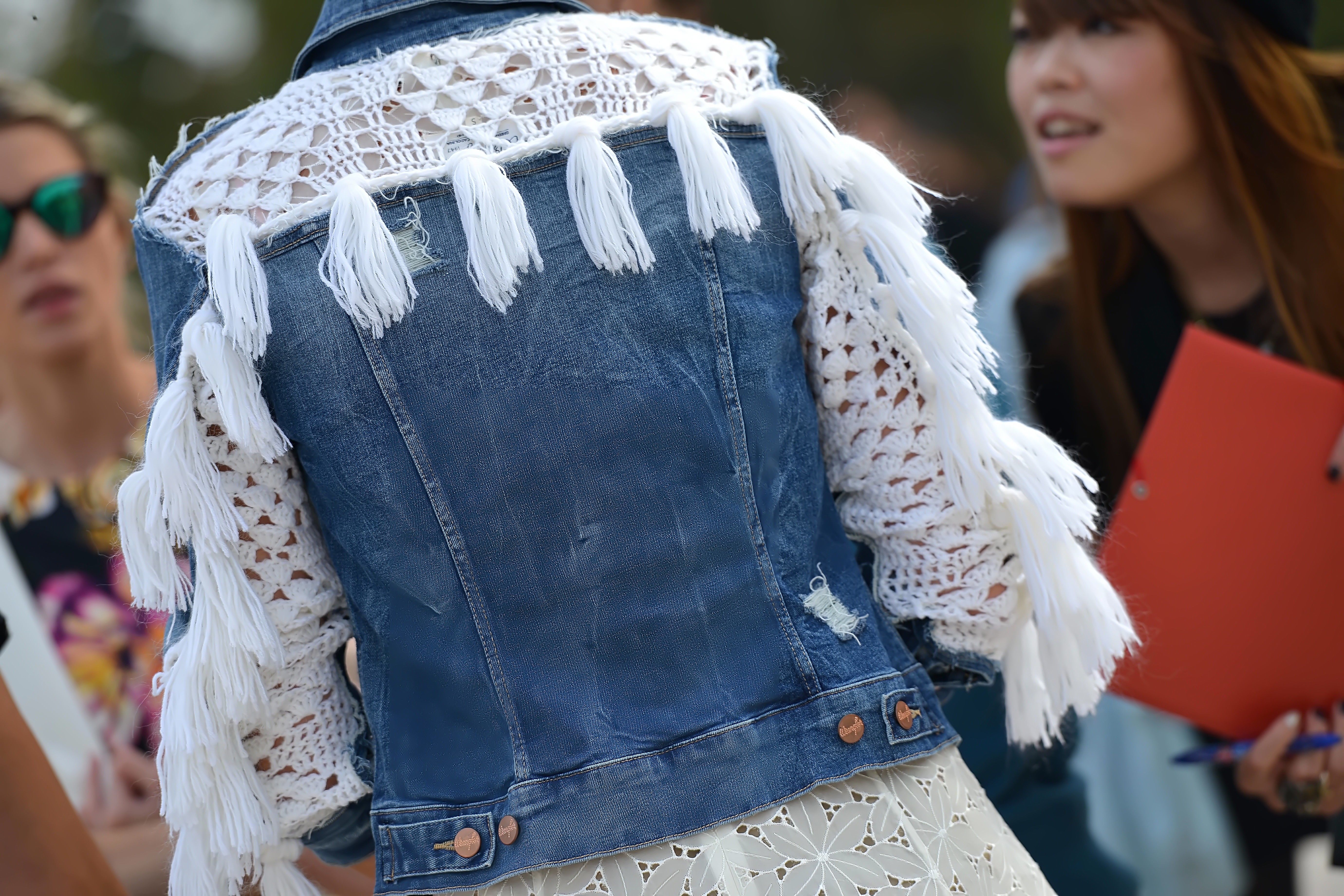Check out this crazy denim jacket ©TheStreetmuse