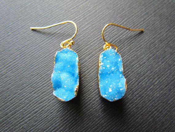Druzy Earrings  Sparkly Gold Druzy Dangle Earrings  by mizzoktober