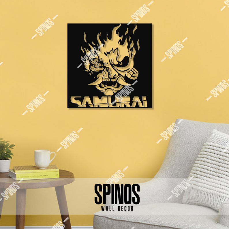Cyberpunk 2077 Wood Wall Art Samurai Symbol Wall Decor Etsy Wood Wall Art Wall Art Wall Decor