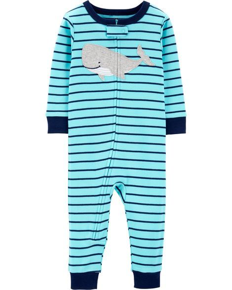1deeccc5a 1-Piece Whale Snug Fit Cotton Footless PJs