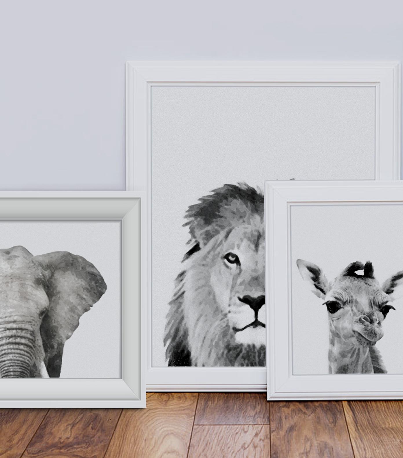 Safari Wall Art Prints Lion Print Elephant Print Giraffe Print Kids Room Safari Art Safari Home Decor Safari Lion Wall Art Safari Wall Art Etsy Wall Art