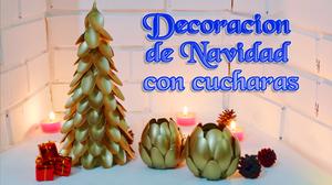 Decoración fácil para Navidad, árbol de navidad con cucharas y bols en forma de flor
