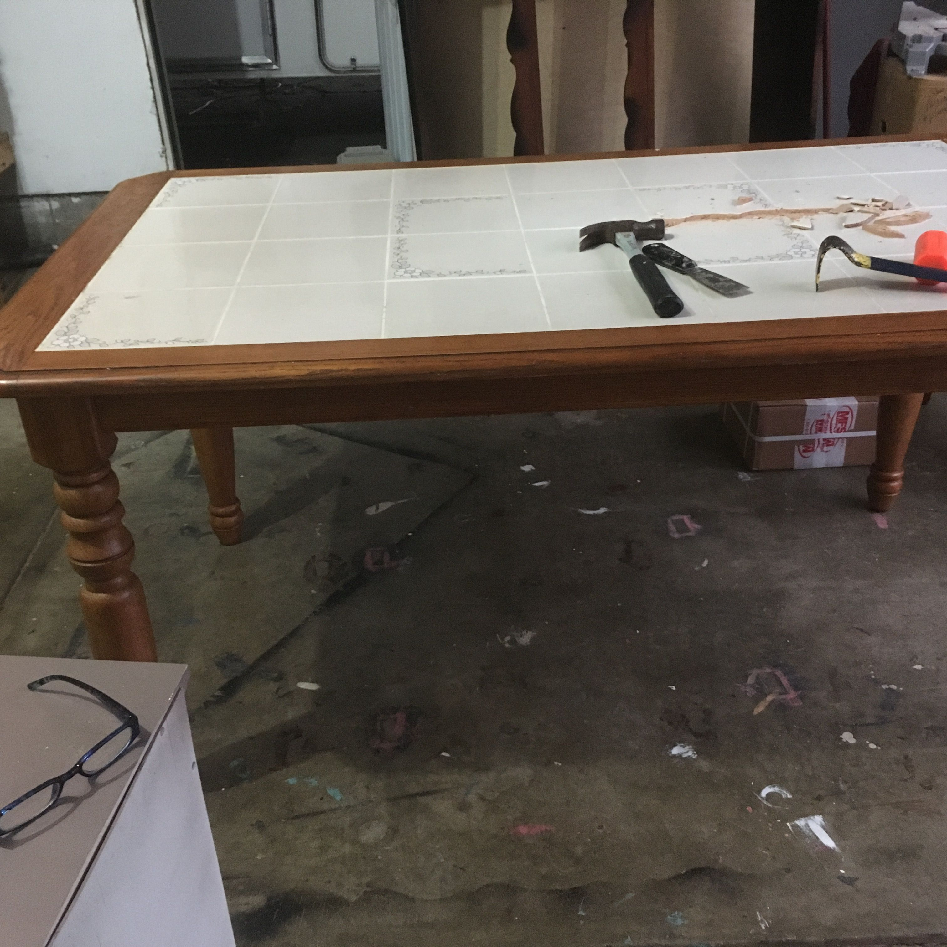 Before Removing The Old Tiles Diy Kitchen Table Kitchen Table Makeover Tile Top Tables