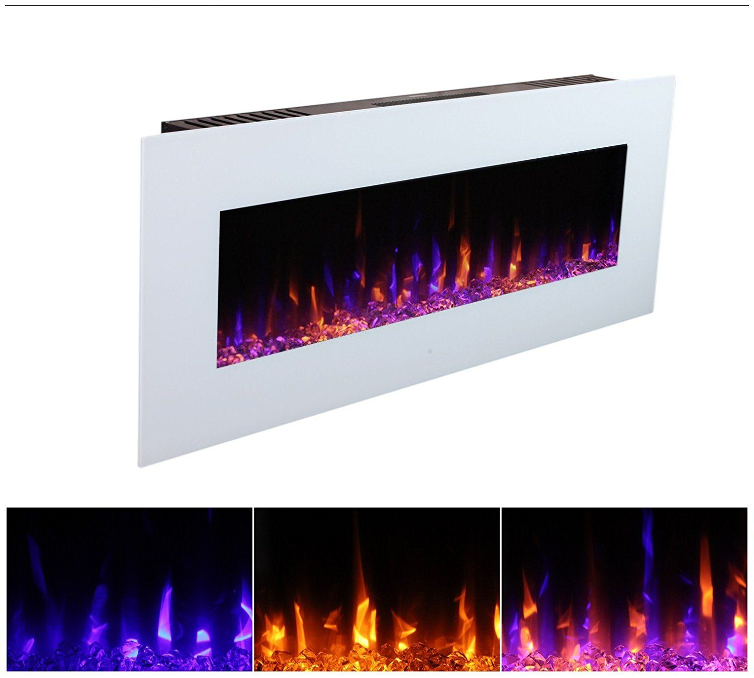 3g Plus 50 Electric Fireplace Wall Mounted Heater Crystal Stone
