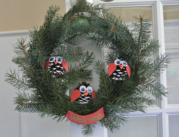 Christmas Owl Wreath 10 inch by GiftsbyChristina on Etsy, $37.00